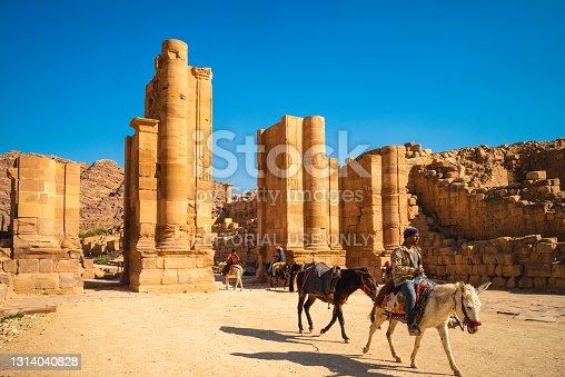 istock Hadrian Gate, aka the Temenos Gate, in petra 1314040828