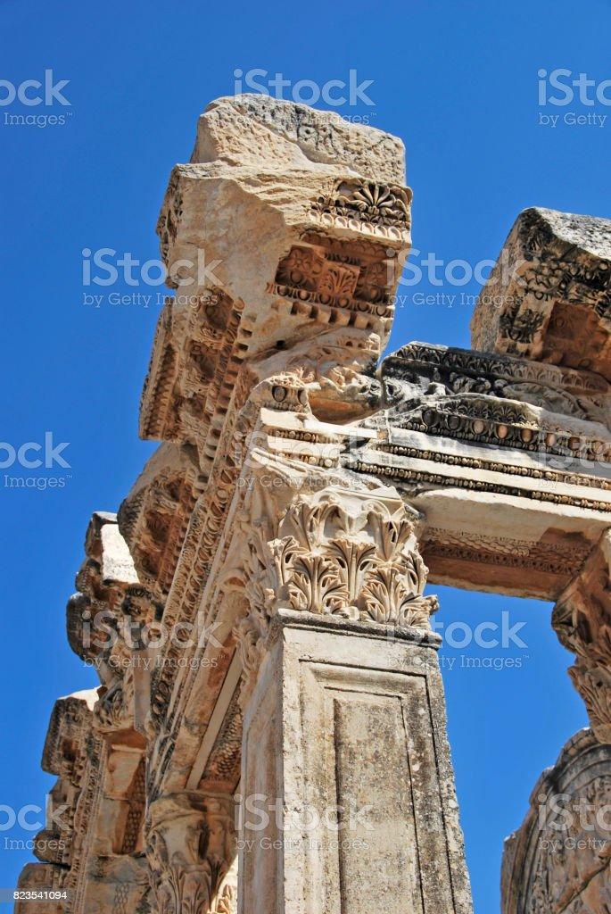 Hadrian temple detail stock photo