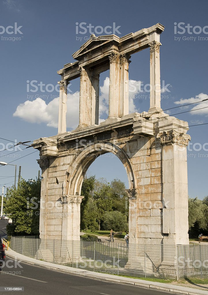 Hadrian's Arch in Athens stock photo