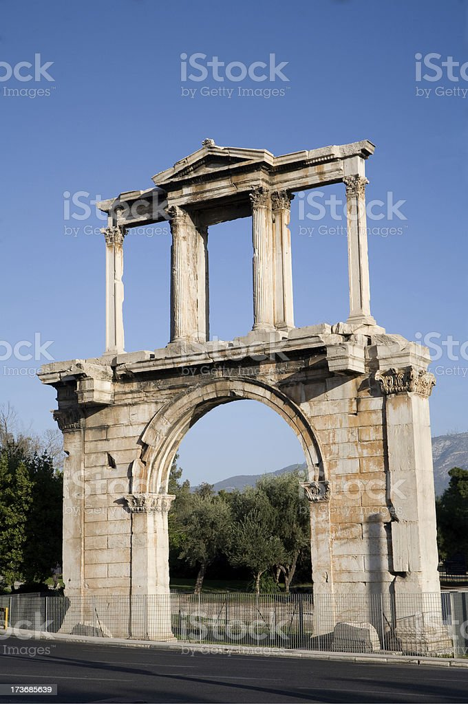 Hadrians Arch in Athens stock photo