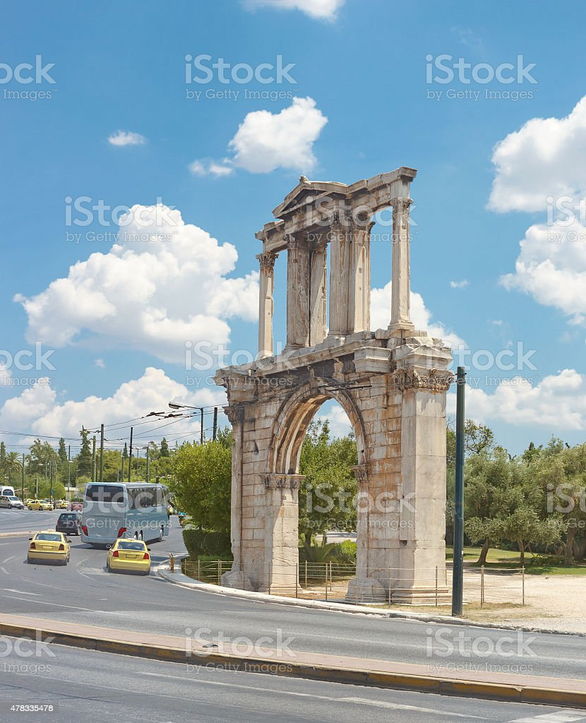 Hadrian's Arch (also known as Hadrian's Gate) stock photo