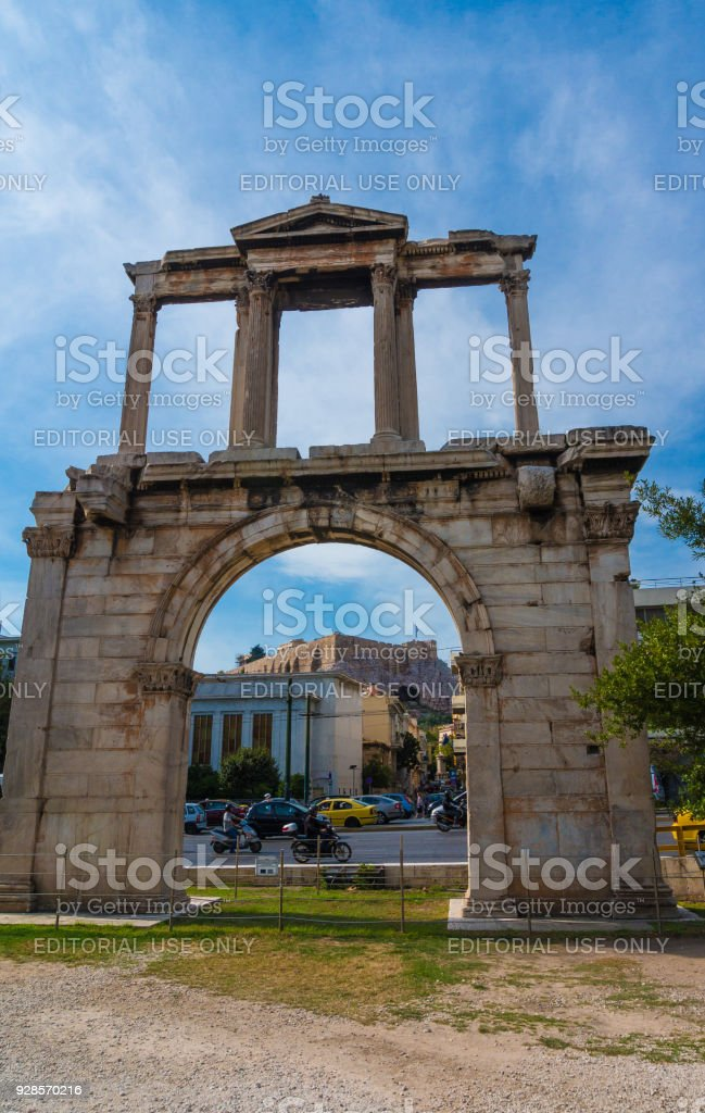 Hadrian's Gate in the center of Athens Greece. stock photo