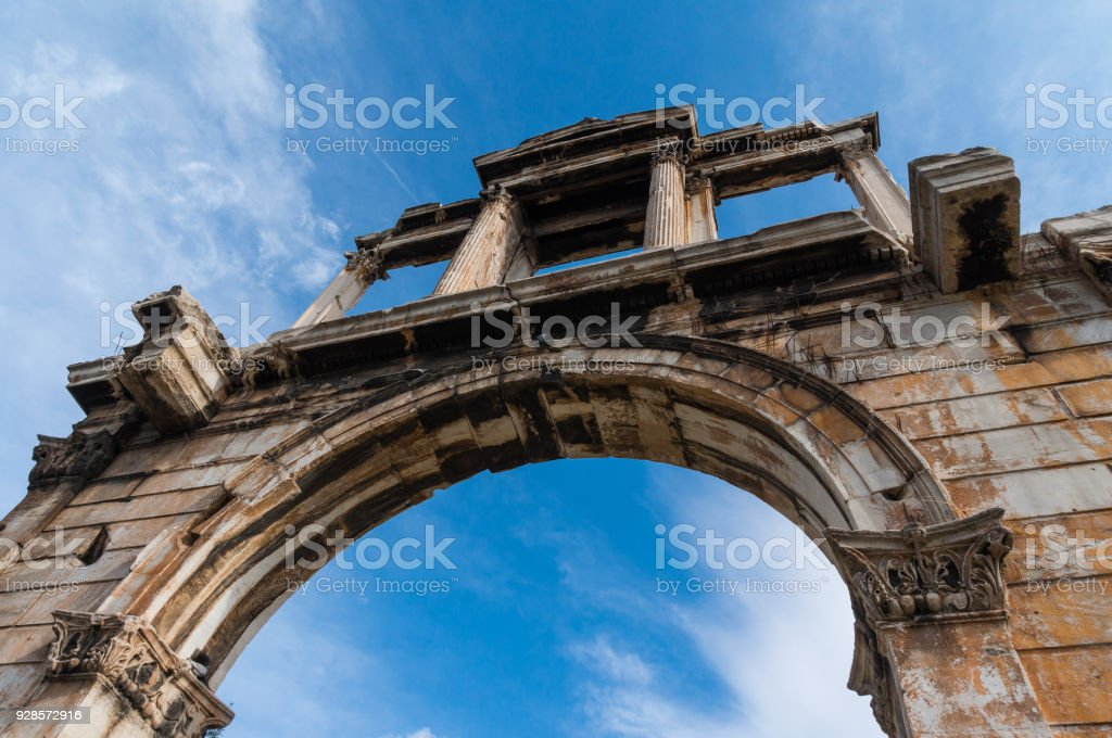 Hadrian's Gate in the center of Athens Greece. The Arch of Hadrian spanned an ancient road from the center of Athens to the complex of structures of the city that included the Temple of Olympian Zeus. stock photo