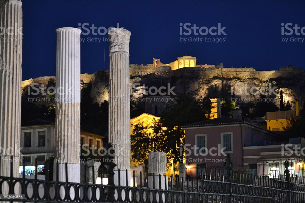 Hadrian's Library Athens by Night stock photo