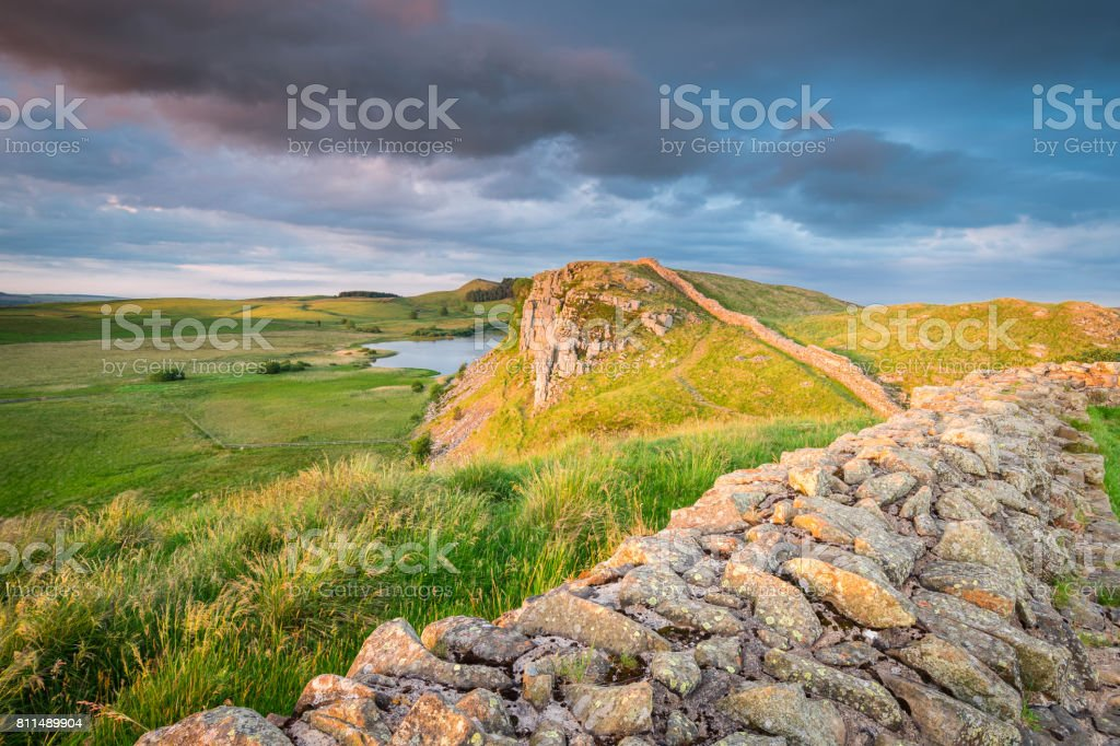 Hadrian's Wall above Highshield Crag stock photo