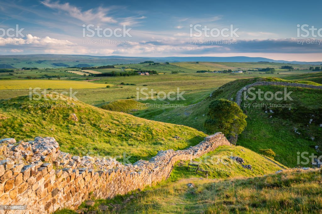Hadrian's Wall above Steel Rigg stock photo