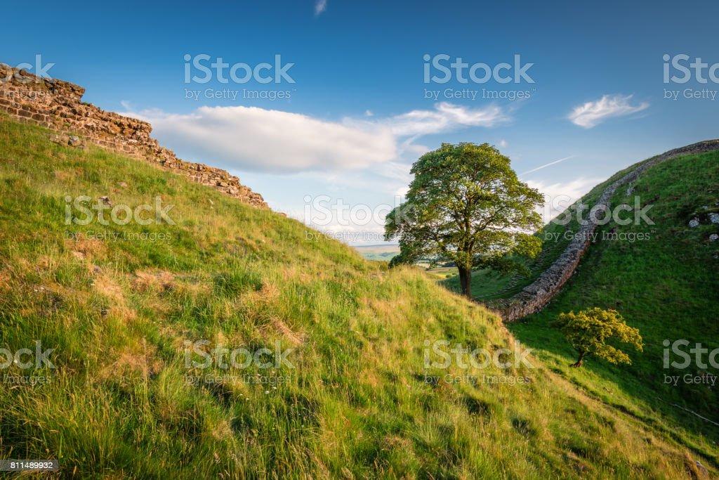 Hadrian's Wall at Sycamore Gap stock photo
