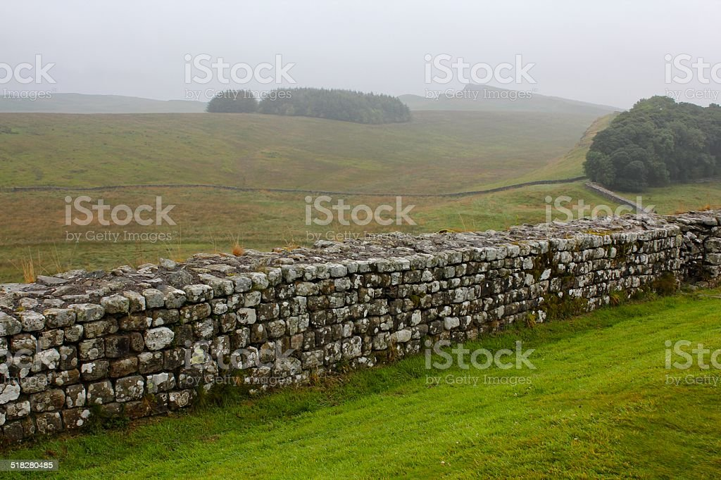 Hadrian's Wall Crisscrossing Landscape stock photo