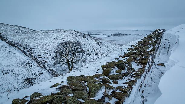 hadrian's wall in der mitte des winters - hadrian's wall stock-fotos und bilder