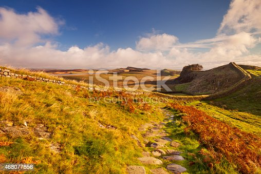 istock Hadrian's Wall, near Housesteads Fort in early morning light 468077856