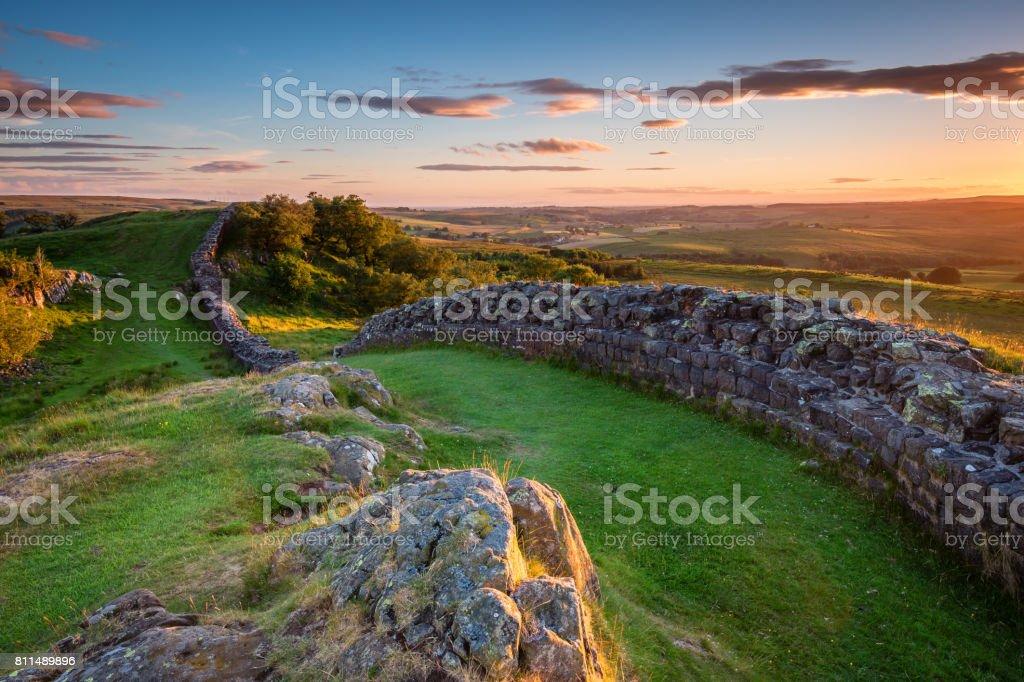 Hadrian's Wall near sunset at Walltown stock photo