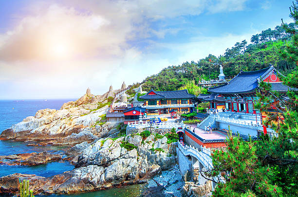 Haedong Yonggungsa Temple and Haeundae Sea in Busan, South Korea stock photo