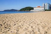 Haeundae beach and modern buildings in Busan, Korea