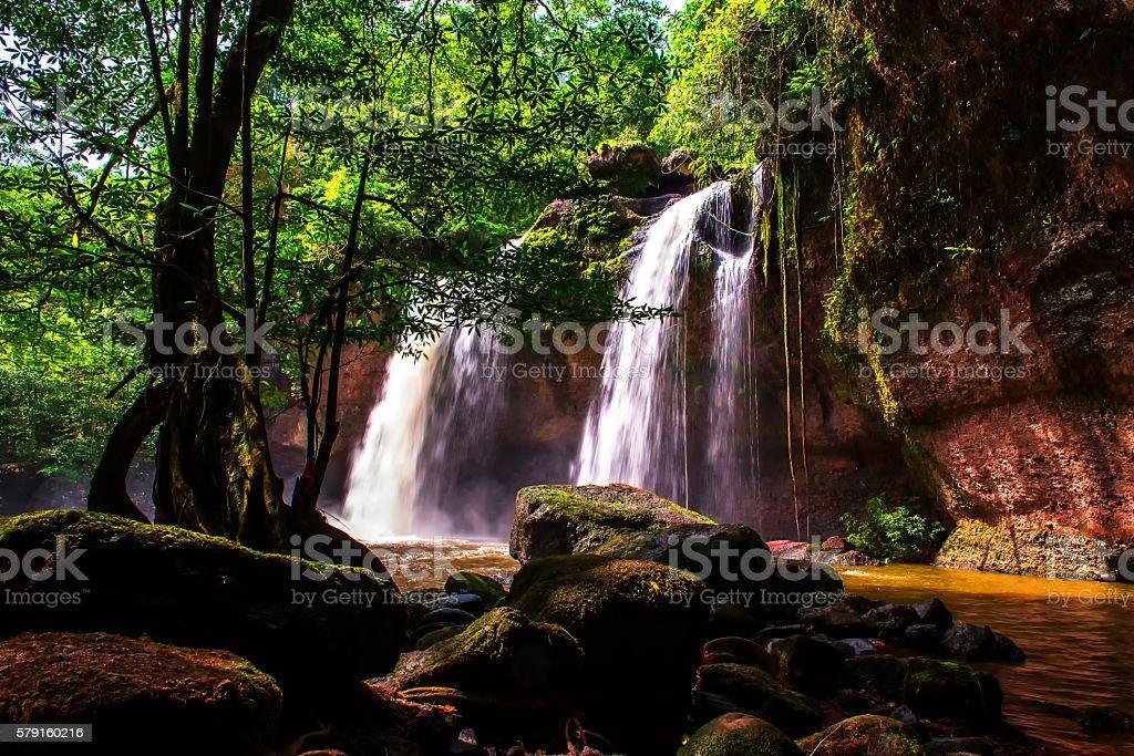Haew Suwat Waterfall at Khao Yai National Park in Thailand stock photo