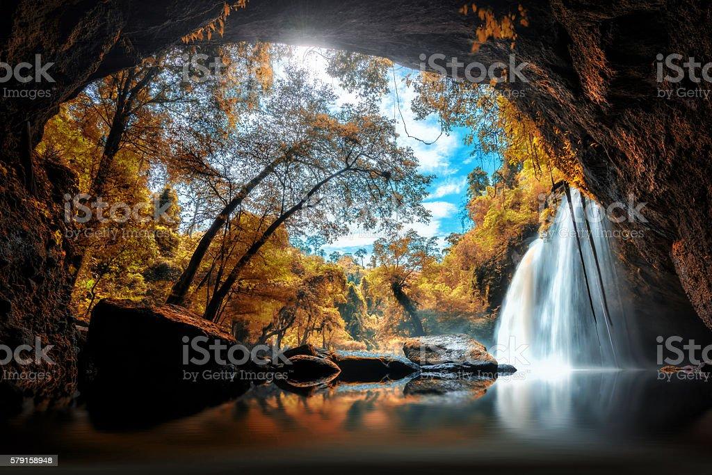 Haew Suwat Waterfall at Khao Yai National Park in Thailandl stock photo
