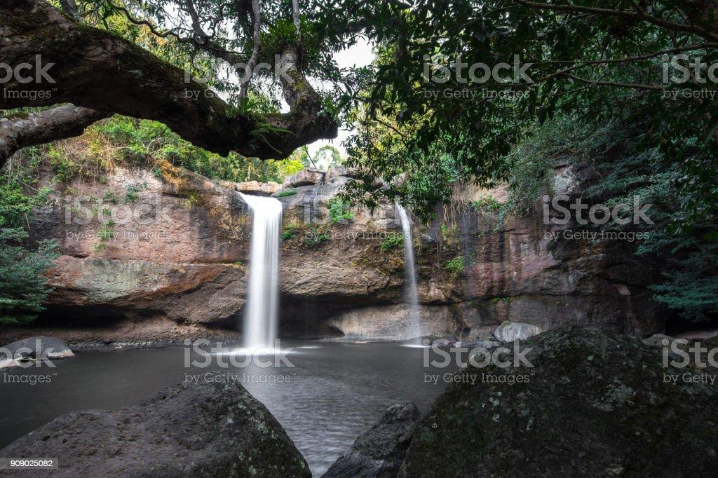 Haew Suwat waterfall  at Khao Yai National Park  Nakhon Ratchasima povince , Landscape Thailand stock photo