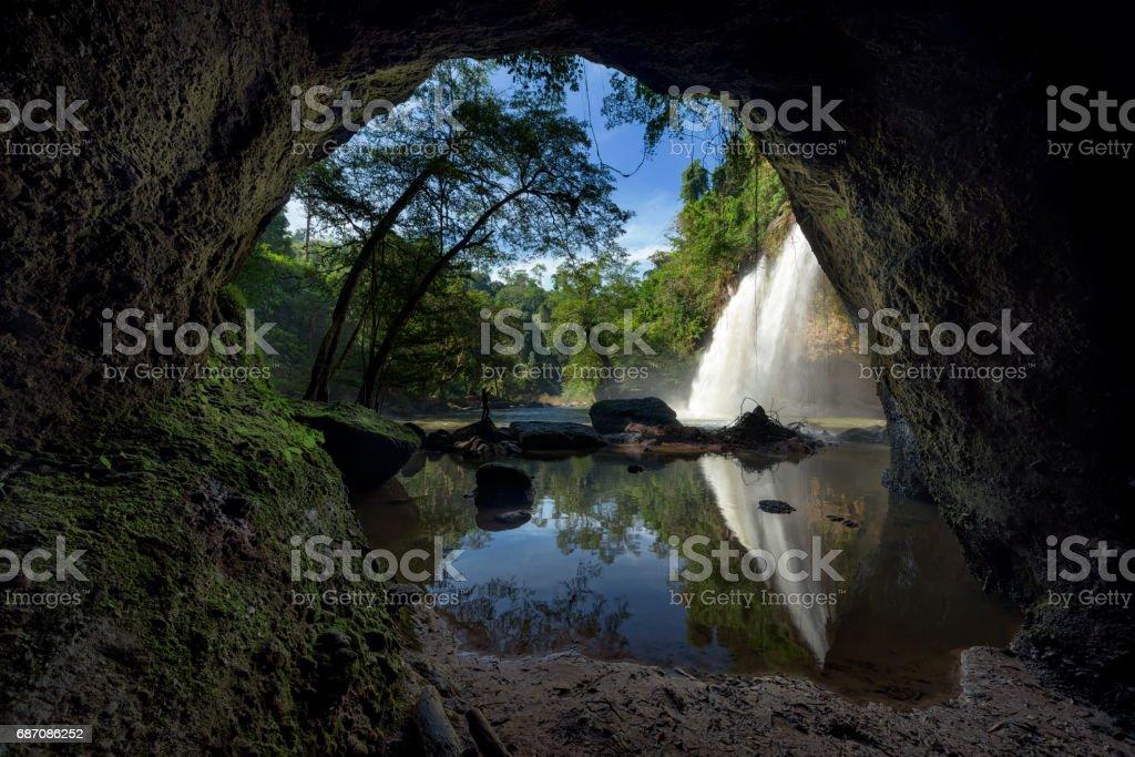 Haew suwat waterfall at Khao Yai National Park, Thailand stock photo