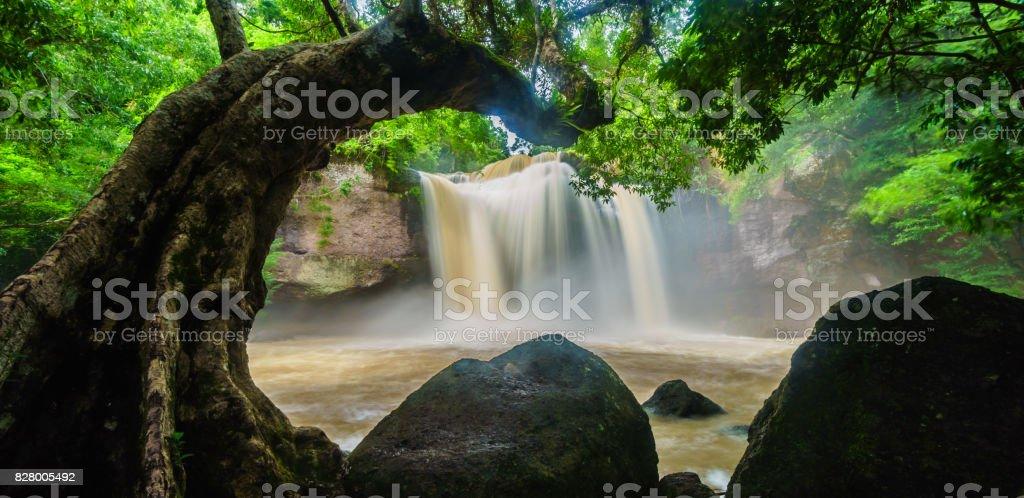 Haew suwat waterfall in Khao Yai National Park, Thailand stock photo