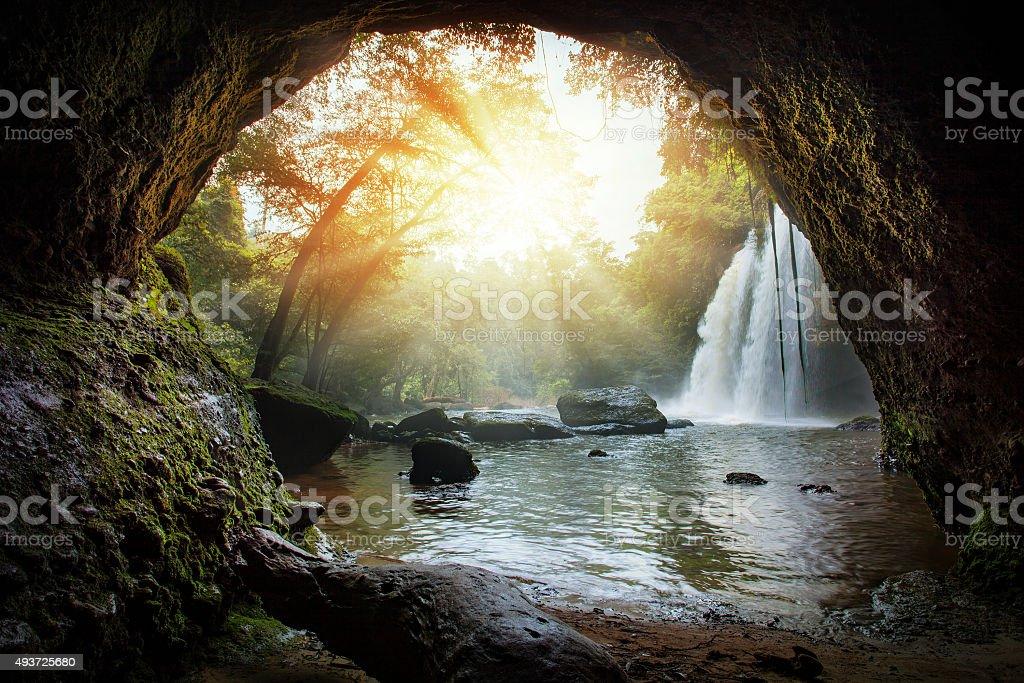 haew suwat waterfalls in khao yai national park  thailand stock photo