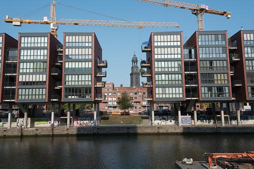HafenCity Hamburg with tower of St. Michaelis church
