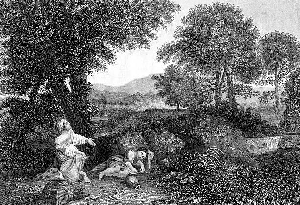 Hagar And Ishmael In The Wilderness stock photo