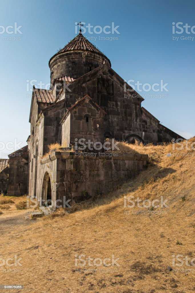 Haghpat Monastery, in Armenia, world heritage site by Unesco. Church of St. Nshan with the entrance to the book depository in the monastery complex Haghpat stock photo