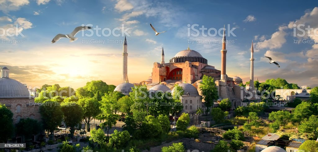 Hagia Sophia at sunset stock photo