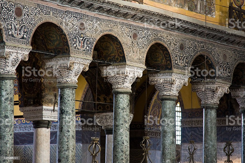 Hagia Sophia interior, pillars and arches. stock photo