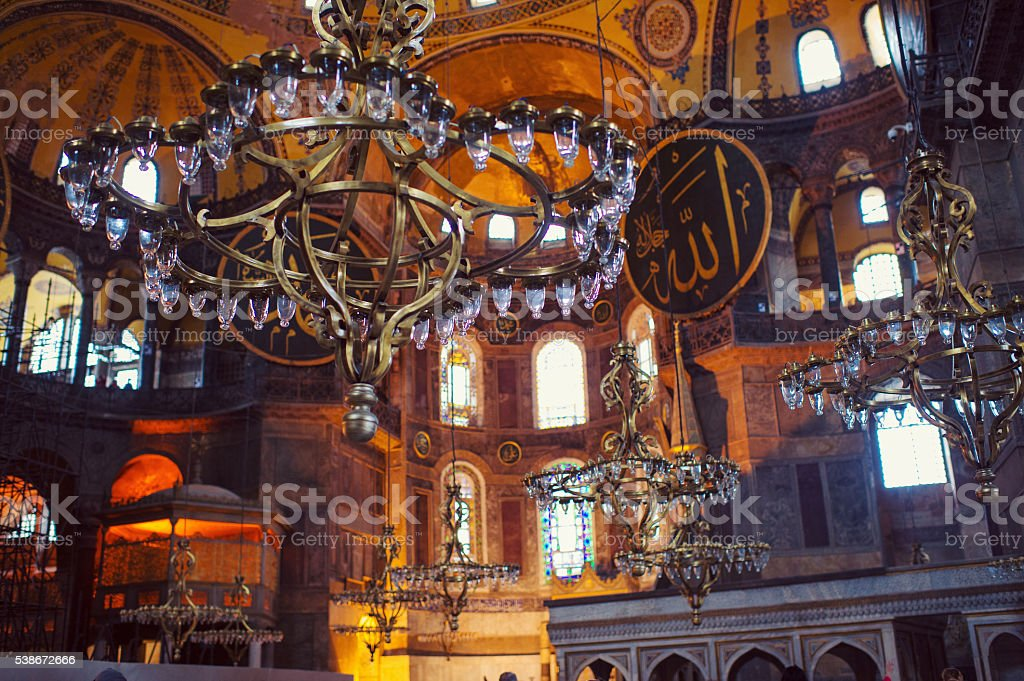Hagia sophia interior with chandeliers stock photo istock hagia sophia interior with chandeliers royalty free stock photo aloadofball Images