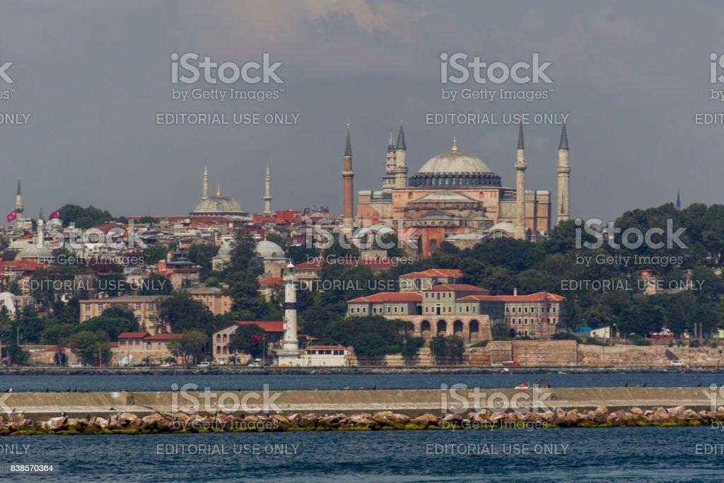 Hagia Sophia mosque church monument by bosphorus istanbul turkey stock photo