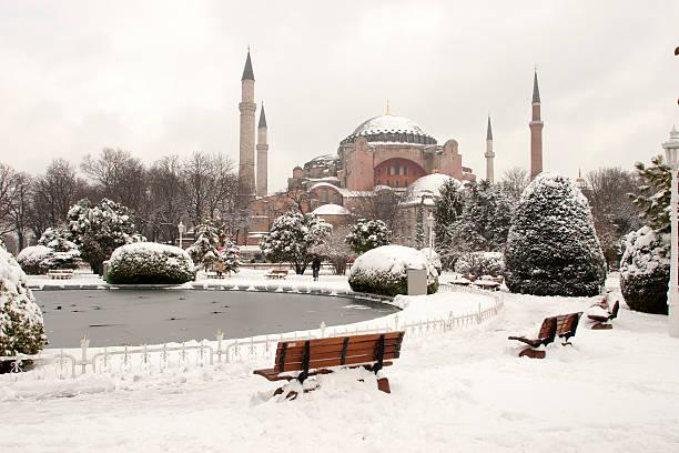 Hagia Sophia Museum at Snowy Winter stock photo