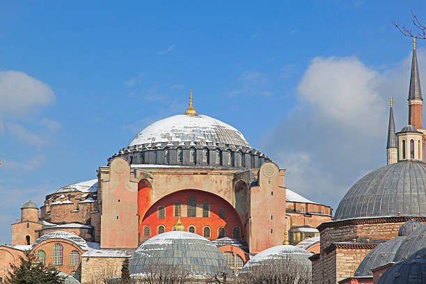 Hagia Sophia with snow on dome stock photo