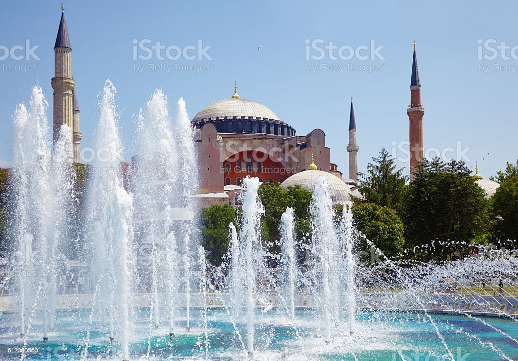 Hagia Sophia with the fontain in front of it, Istanbul. stock photo