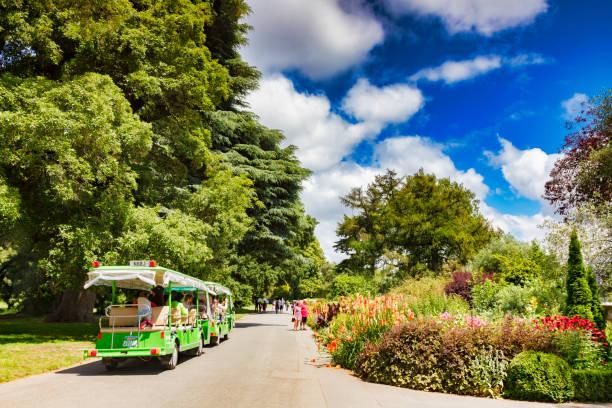 Hagley Park, Christchurch, New Zealand, Tourist Train stock photo