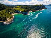 Flying over Hahei Bay in Coromandel, New Zealand.