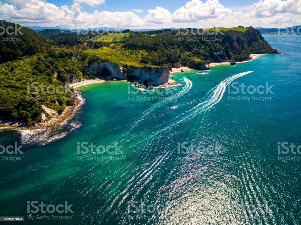 Hahei Bay Aerial View stock photo