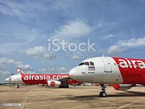 Bangkok,Thailand - May 17, 2020 : Thai Air Asia Airlines at Don Mueang International Airport,. Suspend operations during the Covid-19 outbreak