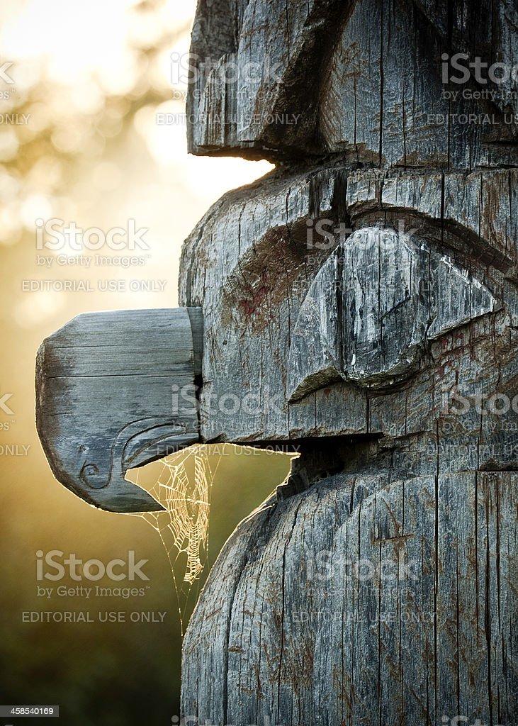 Haida Gwaii Totem Pole Detail stock photo