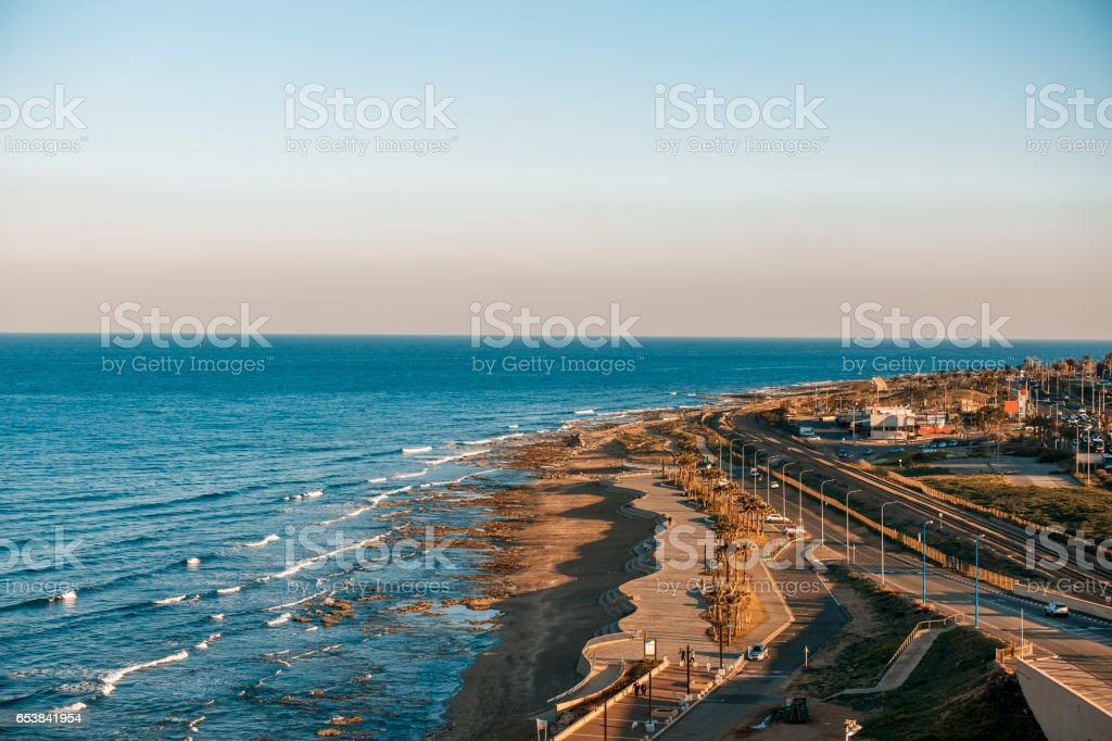 Haifa coastline stock photo