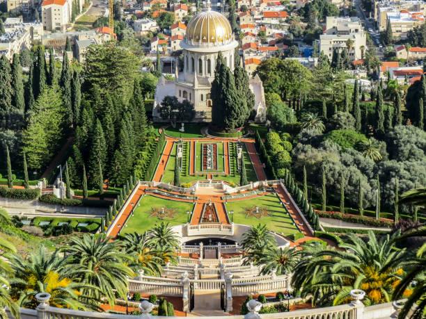 Haifa, Israel Haifa, Israel - View of the Terraces of the Bahá'í Faith, also known as the Hanging Gardens of Haifa, are garden terraces around the Shrine of the Báb on Mount Carmel in Haifa. unesco stock pictures, royalty-free photos & images