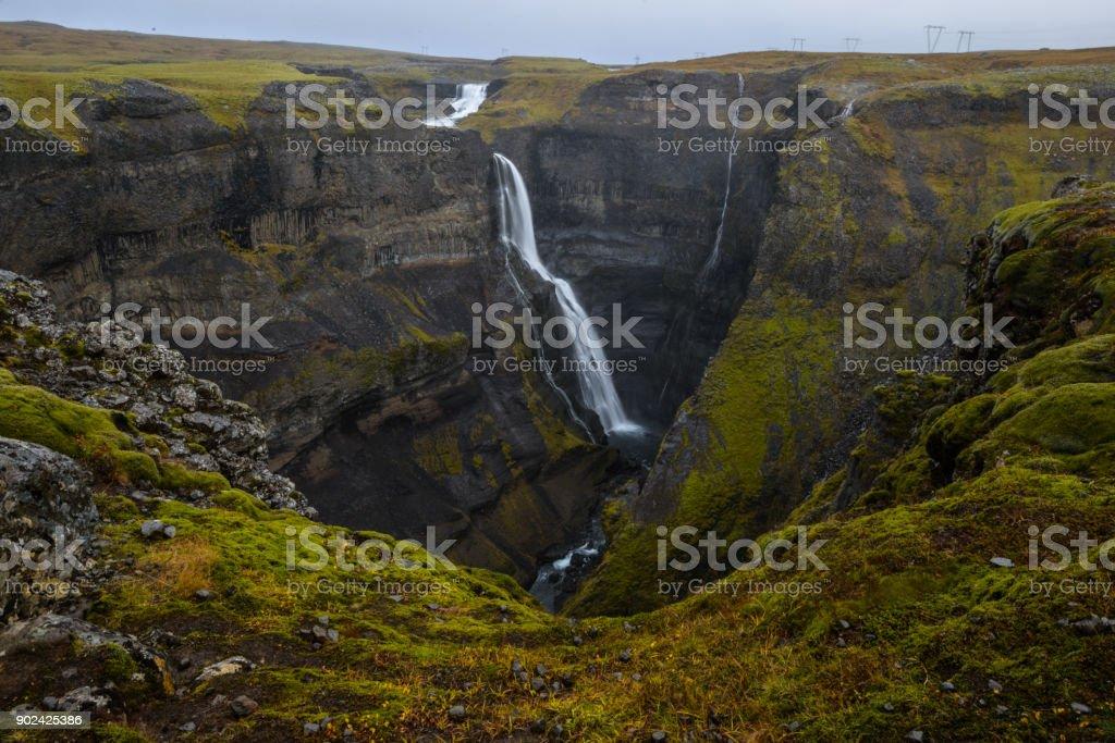 Haifoss Waterfall, Iceland stock photo