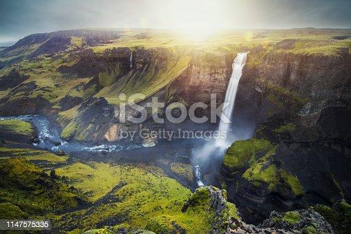 Iceland waterfall haifoss, waterfall landscape.