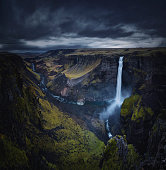 Haifoss waterfall in iceland, landscape in cloudy rain weather condition.