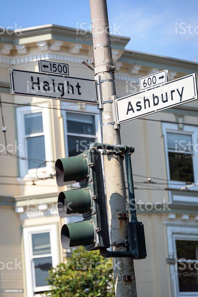 Haight and Ashbury Corner stock photo