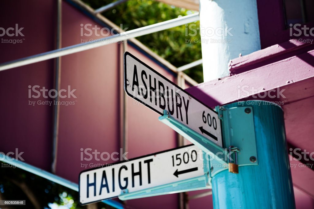Haight and Ashbury street corner signs in San Francisco stock photo