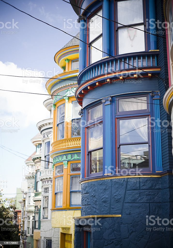 Haight Ashbury Colorful Houses in San Francisco stock photo