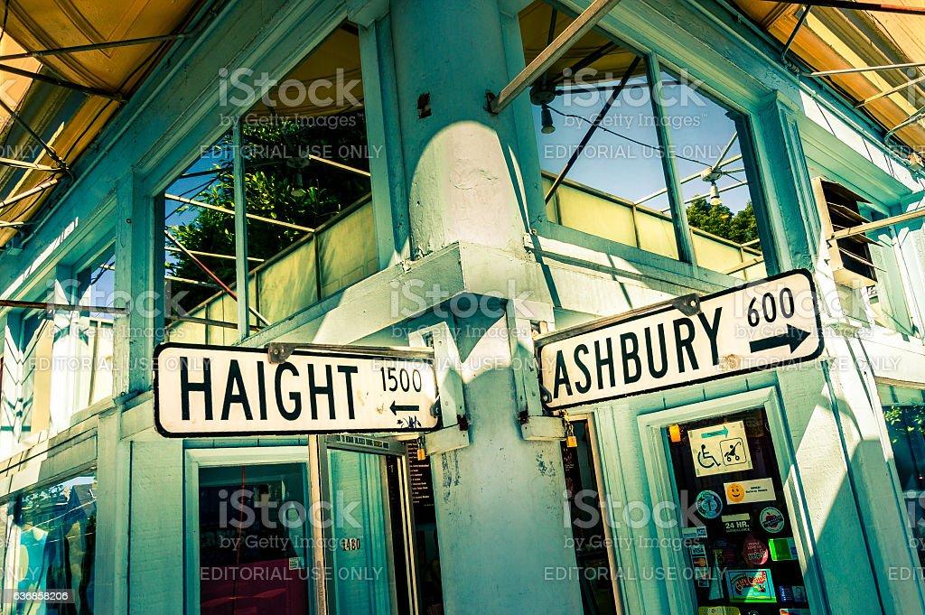 Haight Ashbury street sign in San Francisco, California, USA stock photo