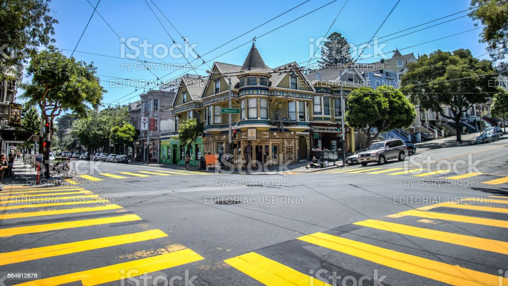 Haight Street in Haight-Ashbury San Francisco.Haight-Ashbury is one of the most famous neighborhoods in San Francisco for its role as a center of 1960s hippie movement stock photo