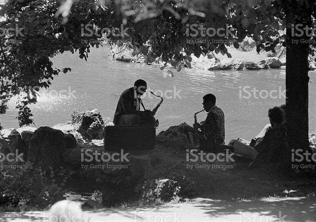 Haight-Ashbury District, San Francisco, Jazz Musicians,Summer 1967 stock photo