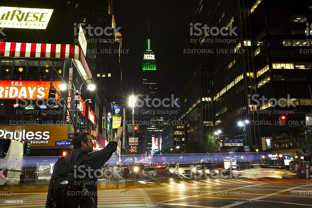 Hailing cab in New York royalty-free stock photo